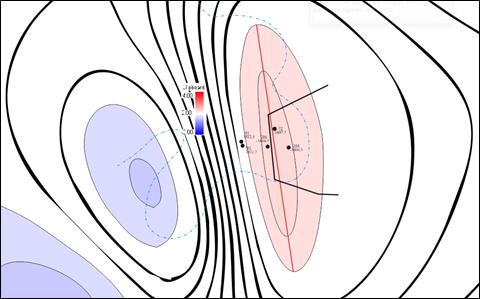 Фрагмент карты поля полного горизонтального градиента с нанесенными границами пласта Д1 и выделенным нарушением