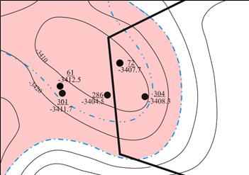 Фрагмент структурной карты пласта Д1 с выделенным тектоническим нарушением
