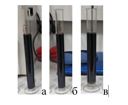 Soderzhanie devonskoi vody v smesi vod 20 (a), 30 (b), 40 (v) %